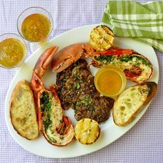 Grilled Herb Lobster Surf n Turf with Lemon Garlic Brown Butter - if you're eating better than this on the weekend, I'm turning off my grill and coming to your house!