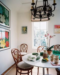 bentwood chairs, tulip table
