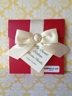 Items similar to 50 Sweet Sixteen invitations - RED with Ivory Satin Bow and Rhinestone Buckle - Wedding, Wedding on Etsy Sweet Sixteen Invitations, Handmade Invitations, Wedding Invitations, Invitation Set, Invitation Design, Paper Divas, Sweet 15, Reception Card, Invitations