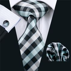 FA-951 Ties For Men Plaid Silk Classic Jacquard Woven Tie Handkerchief Cufflinks Set For Business Wedding Party Free Shipping