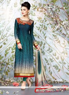 Be your very own style diva with this multi colour faux crepe and georgette churidar designer suit. Beautified with digital print work all synchronized very well through the trend and style and design...