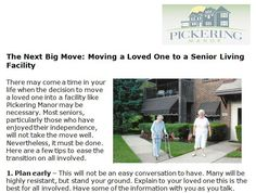 http://pickeringmanor.org/next-big-move-moving-loved-one-senior-living-facility - Moving to a senior living facility is never easy on anyone. At Pickering Manor, we are empathetic to you and your loved one's situation.