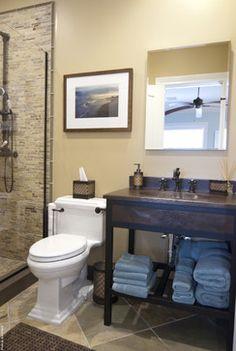 South Shore Residence contemporary bathroom by AMI Designs featuring Native Trails' Cuzco bathroom vanity and Sedona vanity top. #nativetrails
