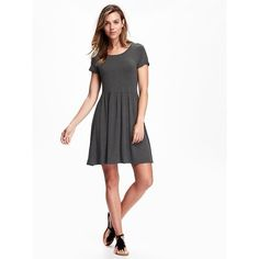 Old Navy Womens Fit & Flare Jersey Dress featuring polyvore women's fashion clothing dresses grey petite grey jersey dress short-sleeve dresses skater skirts gray skater skirt grey dress