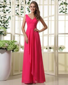 Prom Dresses Bridesmaid Dresses Pink Sheath Column V Neck Floor Length Chiffon , You will find many long prom dresses and gowns from the top formal dress designers and all the dresses are custom made with high quality Empire Bridesmaid Dresses, Vintage Bridesmaid Dresses, Prom Dresses, Evening Dresses, Dresses Uk, Dresses Online, Formal Dresses, Cute Wedding Dress, Fall Wedding Dresses
