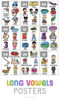 First grade teachers know how important it can be to have visual cues in a classroom full of emergent readers. I created these Phonics Posters Phonics Reading, Teaching Phonics, Phonics Activities, Teaching Reading, Teaching Resources, English Phonics, English Vocabulary, Teaching English, Phonics Chart