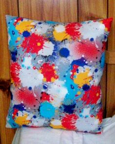 SPLATTER Print Pillow  13 inches by 13 inches  by SewCraftCrazy4U