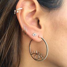 Handmade Accessories 💕 By Bassma Hassan Summer Collection 🍉 Goold & silver 👁️🗨️ Evil Eye Earrings, Fancy Earrings, Evil Eye Jewelry, Eye Necklace, Diy Earrings, Earrings Handmade, Stud Earrings, Boho Jewelry, Wedding Jewelry