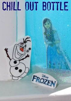 Enjoy Frozen 2 with a super cool chill-out bottle featuring our favorite friends Olaf and Anna! This is a fun craft or activity for a birthday party or watch party. A chill-out bottle is great to have on hand when our emotions get too high and we need a moment to get our thoughts together and chill out. #emotionregulation #frozen2 #olaf #sensorybottle ##sensory #chilloutbottle #chillbottle
