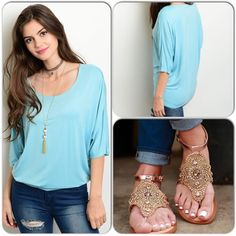 Comfy Knit Blue Top This light blue top features rounded neckline, 3/4 sleeves and relaxed fit. Perfect top to relax in and pit with shorts or jeans. 95% Rayon, 5% Rayon (This closet does not trade or use PayPal) ❌Shoe pic for styling only, not available here❌ Promesa Tops