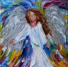 Original oil painting Angel Joy abstract by Karensfineart on Etsy