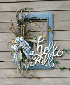 Fall Frame Wreath Galvanized Look Frame Wreath Script Font Fall Wreath Gray Gingham Farmhouse Wreath Front Door Wreath Fall Wall Decor Picture Frame Wreath, Picture Frame Crafts, Window Frame Crafts, Craft Frames, Frames Decor, Diy Wreath, Wreath Fall, Wreath Ideas, Wreath Crafts