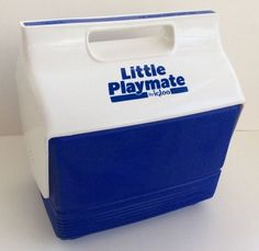 Igloo Little Playmate Cooler Lunch Box Blue White Ice Chest CLEAN #Igloo