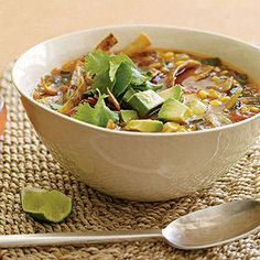 You'll definitely want to go back for seconds with this vegetarian Tex-Mex Corn and Salsa Tortilla Soup #healthy