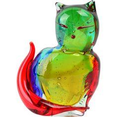 #VintageBeginsHere at www.rubylane.com @rubylanecom --Murano Multi Color Glass Cat