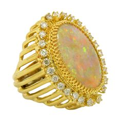 Over the Top Opal Ring with Diamonds #AustraliaOpal