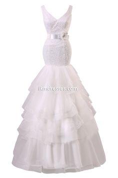Mermaid V-Neck Lace Long Lace up Wedding Dress http://www.ikmdresses.com/Mermaid-V-Neck-Lace-Long-Lace-up-Wedding-Dress-p90980