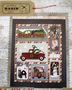 """Bringing Home The Tree – Quilting Books Patterns and Notions idea: """"Merry Christmas"""" and just the truck Christmas Quilt Patterns, Christmas Sewing, Christmas Art, Christmas Wall Hangings, Xmas, Wool Applique, Applique Quilts, Quilted Wall Hangings, Wall Hanging Quilts"""