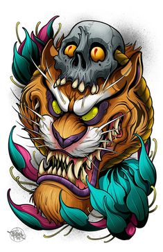 Japanese Embroidery Tiger Image of Tiger with Skull - This is an print of one of a skull-adorned Tiger. These prints set the benchmark of high quality in the art reproduction industry. Badass Tattoos, Body Art Tattoos, Sleeve Tattoos, Ear Tattoos, Temporary Tattoos, Japanese Tattoo Art, Japanese Tattoo Designs, Hanya Tattoo, Neo Traditional Tattoo