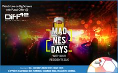Get ready for the Patiala peg Night tonight along with our resident Djs VDJ Arwind and VDJ EASH at Diff 42's One Night Wednesday Mad-Ness-Days.  Enjoy watching the world's first multi-national Futsal tournament on Big Screens Live at Diff 42.  It's pouring Futsal offers tonight....  For more info, contact: 044-43216667, 9842319191, 9842419191  #7, Opposite Vijaynagar Bus Terminus, Taramani Road, Velachery, Chennai  #Cocktail #Drinks #Dine #Party #Diff42 #RestoLoungeBar #Chennai #Beer
