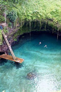Jump into To Sua Ocean Trench ~ Lotofaga, Samoa