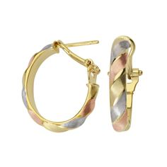 14kt Gold Tri Color Oval Ribbed Tube Hoop Earrings