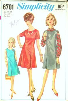 Simplicity 6701 ©1966; Misses' and Women's Dress or Jumper in Half-Sizes:size 20 1/2 Dress or jumper with pleats in side front seams has back zipper and lowered round neckline. Dress V. 1 has short set-in sleeves. Jumper V. 2 has optional top-stitching.