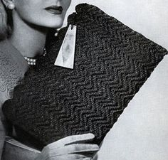 Cordet Bag No. 4826 crochet pattern from Handbags, originally published by Jack Frost Yarn Company, Volume No. Vintage Crochet Patterns, Vintage Knitting, Vintage Sewing, Vintage Hats, Crochet Case, Cute Crochet, Beautiful Crochet, Crochet Handbags, Crochet Purses