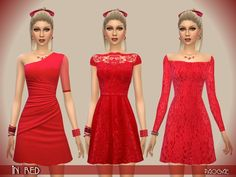 The Sims Resource: InRed dress by Paogae • Sims 4 Downloads