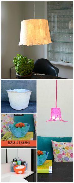 Kreative ideer med papir og vat der bliver lavet til skåle og lamper - fra Tina Dalbøges e-bog Skåle & Skærme