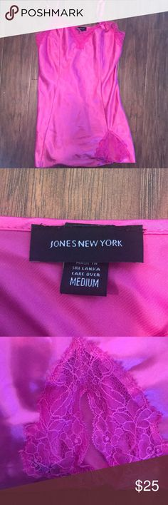 Jones New York pink silk nightie - size medium Perfect for Valentine's Day!! Vibrant pink color with lace details, has a slit on on the legs, and his above the knee, mid thigh area, it is a nightie it's very silky and smooth. Size medium. Make an offer. Jones New York Intimates & Sleepwear Chemises & Slips
