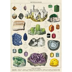 Mineralogie / french vintage science poster / minerals crystals science poster print / pull down chart minerals gemstone Room Posters, Poster Wall, Poster Prints, Poster Hanging, Gig Poster, Art Print, Posters Vintage, Vintage Prints, Vintage Style