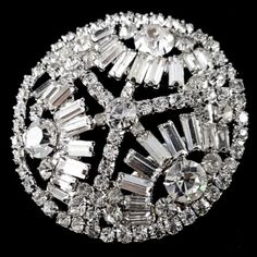 #Vintage #Jewelry Vintage Brooch Pin Large Rhinestone Flower Baguette Cluster Wedding M241 #Christmas #Gifts