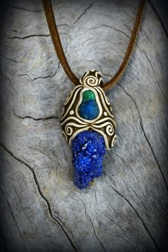 Bohemian crystal pendant blue Azurite gemstone by PeaceElements