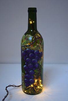 wine bottle lighting | Hand Painted Wine Bottle Light w/Grapes