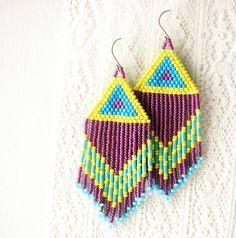Fringe Benefits  Bead Woven Earrings by moonandsundries on Etsy, $44.00