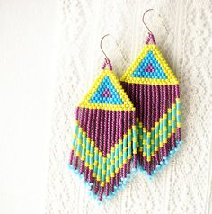 Fringe Benefits  Bead Woven Earrings by moonandsundries on Etsy, $44.00