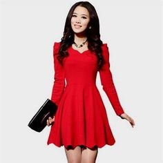 Awesome Red Short Dress With Long Sleeves 2018