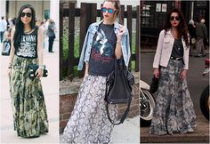 Resultado de imagem para cores de blusa que combina com saia estampada  verde