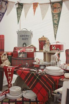 Vintage love use marks old pennants along with burlap and plaid?