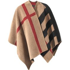 Burberry Mega Check Prorsum Poncho ($1,375) ❤ liked on Polyvore featuring outerwear, cape, coats, jackets, wool poncho, beige cape coat, burberry cape, burberry poncho and beige poncho