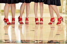 A pop of color for the bridesmaids #wedding #heels #bridesmaids