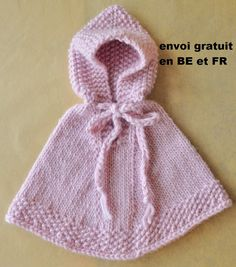 Pink poncho for baby 1-3 months in pure wool by lamainlefil