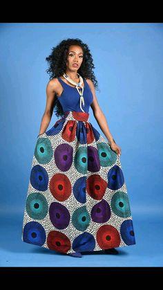 NOUVEAU cercle Vera jupe africaine impression Maxi par RAHYMA
