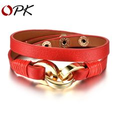 OPK Black Red Leather Charm Bracelets New Fashion Stainless Steel Double  Layer Leather Vintage Men 28b7562cc9d3