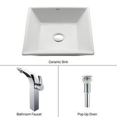Square Ceramic Sink in White with Illusio Faucet in Chrome-C-KCV-125-14700CH at The Home Depot
