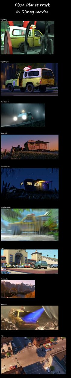 The Pizza Planet truck in different Disney movies. Cute and LOL.