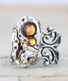 Steampunk Ring - November Clockwork Couture Industrial Retro  Topaz