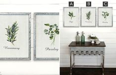 Metal Framed Herb Prints | Pick Your Style