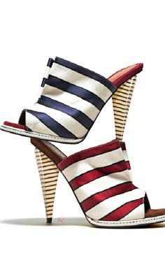Fendi ~ Stripped Satin Open Toe Mules